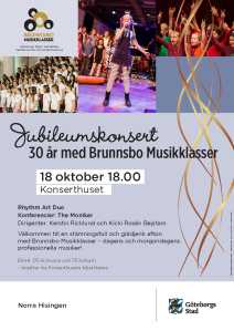 Affisch Brunnsbo Musikklassers 30 års jubileum